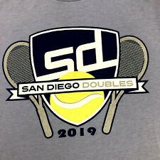 San Diego Doubles 2019 Tennis T Shirt Mens Sz L Large Periwinkle Blue + Graphics