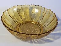 "Vintage 1960's Indiana Glass Bowl Amber Sunflower Mid Century Fruit Bowl 10"" Dia"