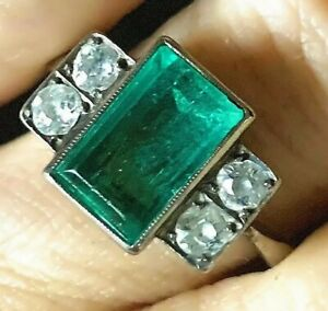 Antique Edwardian 12k Gold 1.64ct VS Emerald .5ct Mine Cut Diamond Ring