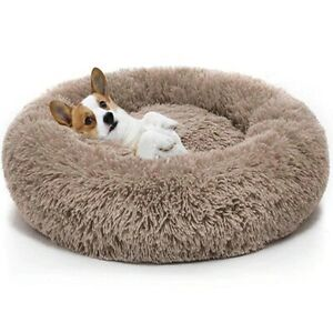 Donut Plush Pet Dog Cat Bed Warm Calming Bed Fluffy SOFT SLEEPING Kennel Nest