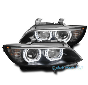 FOR 07-10 BMW E92 3-SERIES COUPE [HID MODEL] HALO PROJECTOR HEADLIGHT LAMP BLACK