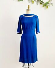 Vintage 1940s Royal Blue Rayon Dress with Cutout Neckline