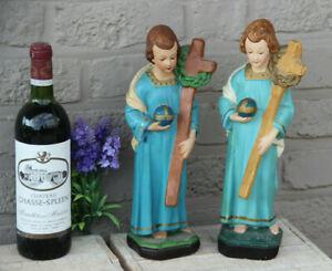 PAIR antique French chalkware Child Jesus Figurine statue with crucifix