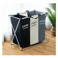 X-shape Foldable Dirty Laundry Basket Organizer Printed Collapsible Three Grid
