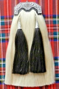 Long Horse Hair Sporran T Shape Chrome Plated Cantle With Chain Belt