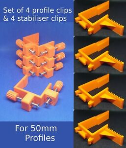 50MM BUILDING PROFILE SET offset Clips stabilisers Brick laying wall line holder