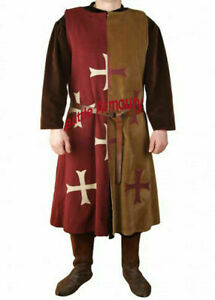 Medieval Templer Sleeveless Tunic | Knight Tabard Surcoat LARP | Size M to 2XL