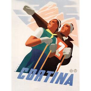 Travel Sport Winter Skiing Cortina Italy Alpine Vintage Advert Canvas Print