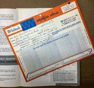 Mcintosh C-22 C22 Preamp Clinic Test Certificate 1969 *Original*