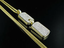 Yellow Gold Finish Iced Out Lab Diamond Dog Tag Pendant Miami Cuban Chain Combo