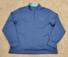 Vineyard Vines Performance Blue Long Sleeve Pullover Quarter Zip Shirt - Large