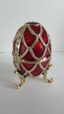 Design Toscano Fh8777 Table Top Dresser Jewelry Enameled Egg Golden Trellis Red
