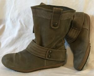 Clarks Grey Mid Calf Leather Lovely Boots Size 5.5D (437QQ)