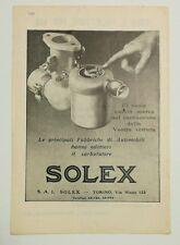 Pubblicità 1932 SOLEX CARBURATORE AUTO CAR advertising werbung publicitè reklame