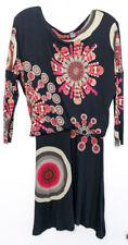 Desigual black midi S dress Batwing medium to long length Designer colourful art