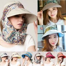 5adb858f272 Women Summer Sport Outdoor Face Protective Canvas Sun Cap UV Protect Visor  Hat
