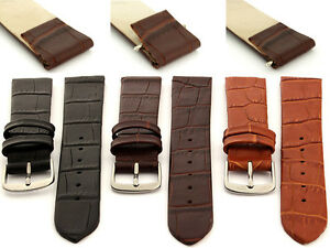 Open Ended Genuine Leather Watch Strap Band Men's Women's 16 18 20 Croco MM