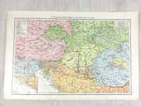 1898 Antique Map of Austria Hungary Ethnographic Chart 19th Century Victorian
