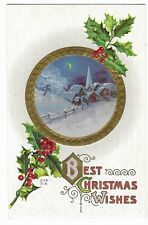 """Vintage Postcard """"Best Christmas Wishes"""" E. Nash Card, Unposted, Embossed."""