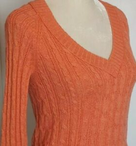 American Eagle Outfitters Womens Cable Knit Pullover Sweater Peach Coral L