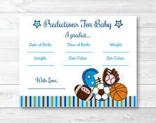 Football Baseball Soccer Sport Baby Shower Baby Predictions Game Cards Printable