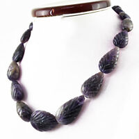 Purple Amethyst 536.00 Cts Natural Single Strand Pear Carved Beads Necklace