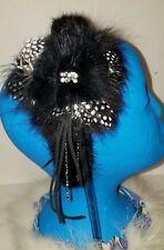 Real Black Mink & Fox Fur Feathers & Rhinestone Headband