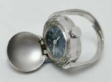 Vtg 1970s Sinex Geneve 17 Jewels Mechanical Blue Faced Ring Watch Cal AS 1977-2