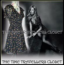 Kate Moss Topshop Black Green Star Festival Cape Silk Tea Dress Lined UK 8 10