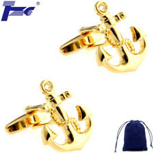 Fashion Cuff Links Men Gold Anchor With Chains Shirt Cufflinks With Velvet Bag