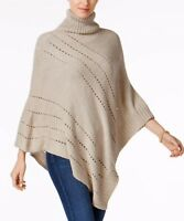 CHARTER CLUB TURTLE NECK POINTELLE DIAGONAL PONCHO ONE SIZE BEIGE
