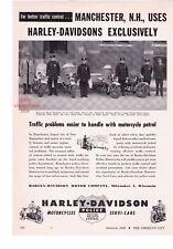 "1948 Vintage Harley Davidson Police Motorcycles ""Manchester, NH"" Print Ad"