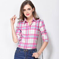 Women Blouses Long Sleeve Shirts Plaid Flannel Female Casual Top New