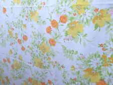 Vtg JCP Full Double Sheet Yellow Orange Flowers 70's Cotton floral fabric + case