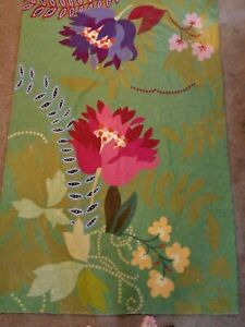 MADE IN INDIA STUNNING WOOL WOVEN/EMBROIDERED GREEN/PINK/PURPLE FLORAL AREA RUG