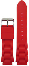 18mm PM Red Waterproof Silicone Oyster Dive Watch Band 125/75 18/20