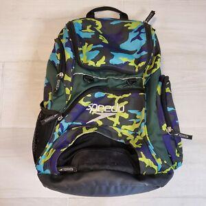 Speedo Teamster Backpack Swim Bag 25L Liter Black Blue And Green Camo #L