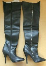 Womens Thigh High, Synthetic Leather Boots,'Stiletto', Cone Heel UK 3 3000