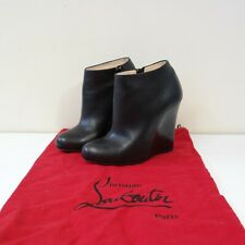 CHRISTIAN LOUBOUTIN BLACK LEATHER WEDGE ANKLE BOOTS - SIZE 36 U.K. 3