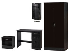 Alpha Black High Gloss Two Tone 2 Door Wardrobe Study Desk Bedside Table