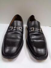 COLE HAAN black leather silver tone horsebit buckle slip on loafers shoes 9M