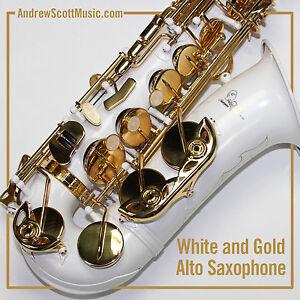 White & Gold Alto Saxophone - New in Case - Masterpiece