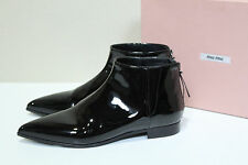 New Miu Miu / Prada Black Patent Leather Pointed toe Ankle Boot Shoes 6.5 / 36.5