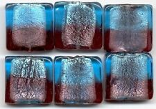 Aqua Amethyst Silver Foil Square Loose Jewelry Making Craft Lampwork Glass Beads