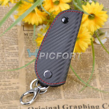 New 3D Leather Carbon Fiber Remote Key Case chain keyless Fob cover Holder