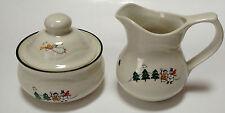 Pfaltzgraff Snow Village Sugar Bowl And Creamer Set Santa Reindeer Sledding