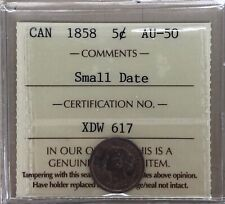 1858 Canada Small Five Cents - ICCS AU-50 - #XDW 617