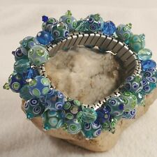 Periwinkle Stone Beads Bracelets Bangle with Silver Tone Stretch Band