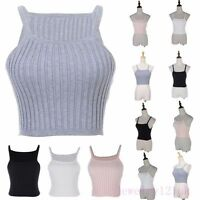Women Tank Tops Vest Blouse Clubwear Cami singlet T-Shirt Cable Rib Knit Crop AU