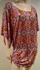LULI FARMA Multi Colour Paisley Print Scoop Neck Cover Up Kaftan Beach Dress L